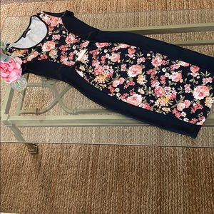 Flowery Midi Body Con Dress